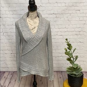 WHBM shimmery shawl collar deep V neck cable knit